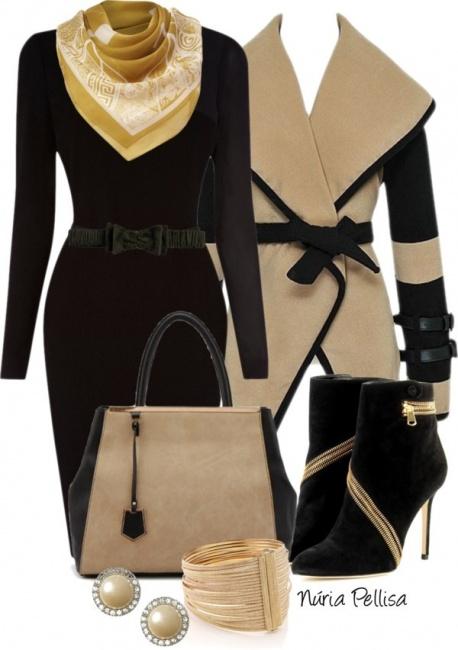 Стильное сочетание: пальто + платье
